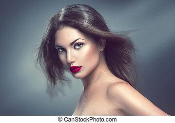 ritratto, lungo, ragazza, capelli, soffiando, modello, moda