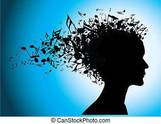ritratto, note, donna, silhouette, musicale
