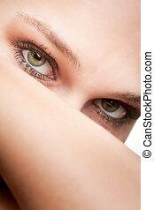 ritratto, occhi, donna, verde, bellezza