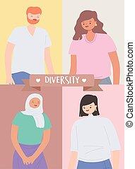 ritratto, persone, uomo, carattere, donne, multicultural, multirazziale, diverso