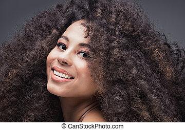 ritratto, ragazza, afro., bellezza