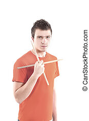 ritratto, tamburino, musicista, bastoni tamburo