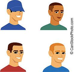 ritratto, uomini, avatar, cartone animato