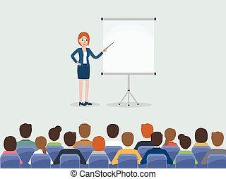 riunione, conferenza, persone affari, room.