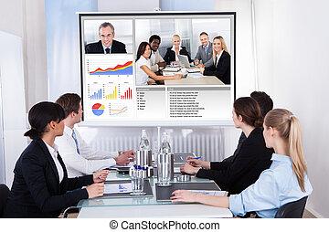 riunione conferenza, video, businesspeople, affari