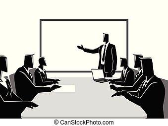 riunione, detenere, persone affari