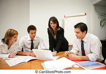riunione, vendite, squadra affari
