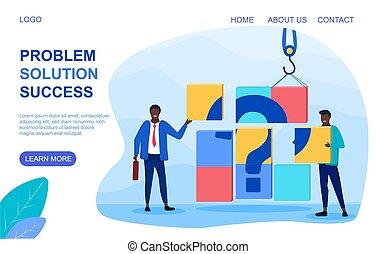 riuscito, affari, problemi, soluzione