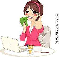 riuscito, donna d'affari, soldi, ventilatore, banconota