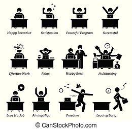 riuscito, felice, lavorando ufficio, efficiente, soddisfatto, esecutivo, lavoratore, workplace., works., godere