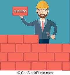 riuscito, nuovo, cappello, mattoni, duro, disegno, costruzione gialla, start-up, tema, affari, cazzuola, uomo affari