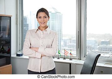riuscito, ritratto, affari donna, ufficio