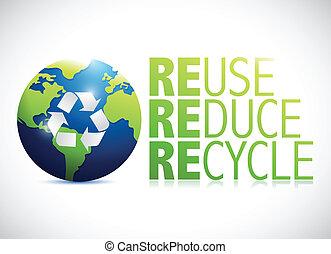 riutilizzare, globo, ridurre, illustrazione, disegno, riciclare
