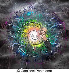 rivela, se stesso, dio, energia, spirale, esplodere, tempo, uomo