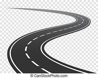 road., traffico, viaggio, sinuosità, highway., curvo