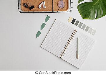 roba, appartamento, disposizione, quaderno, ufficio, tavolozza, aperto, altro, vuoto, pagine