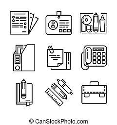 roba, set, ufficio, icona