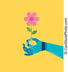 robotic, vettore, fiore, fondo, mano