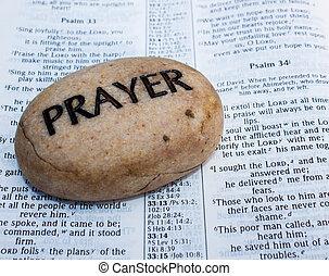roccia, bibbia, aperto, preghiera