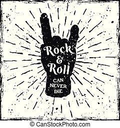 roccia, mano, musica, corna, stampa, etichetta, o, gesto