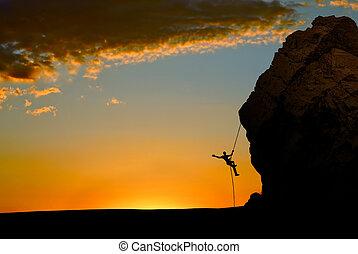 roccia, silhouette, arrampicatore, sunse