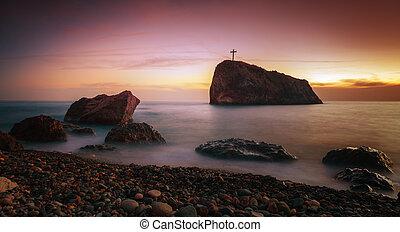 roccia, tramonto, croce, litorale