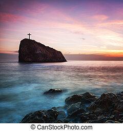roccia, tramonto, litorale, croce