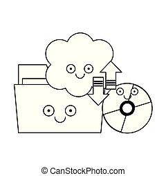 rom, calcolare, cd, nero, cartella, nube bianca