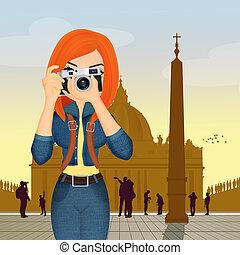 roma, ragazza, turista