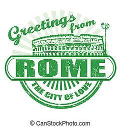 roma, saluti, francobollo