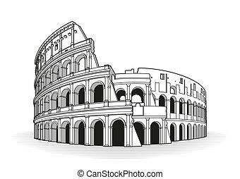 roma, scarabocchiare, colosseo, mano, disegnato, icona, contorno