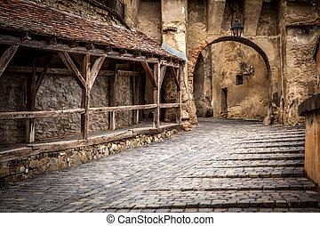 romania, medievale, century., founded, strada, saxon, punto di riferimento, transylvania, xiii, sighisoara, colonists, vista