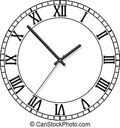 romano, quadrante, numeri, orologio
