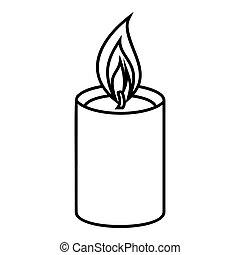 romanza, candela, icona, stile, contorno