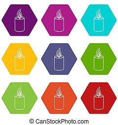 romanza, candela, set, 9, icone