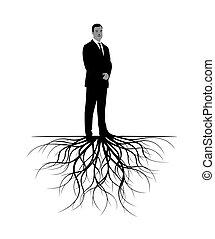 roots., vettore, illustration., uomo