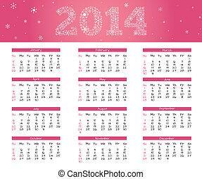 rosa, 2014, calendario