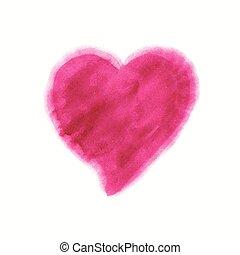 rosa, acquarello, cuore