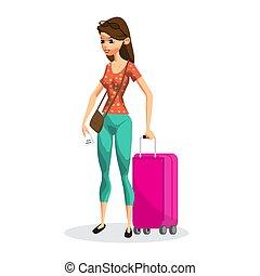 rosa, appartamento, donna, turista, giovane, illustrazione, isolato, vettore, travel., vacanza, rimbombante, suitcase., ragazza