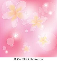 rosa, astratto, vettore, fiori, fondo