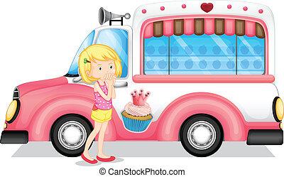 rosa, autobus, ragazza, accanto, giovane
