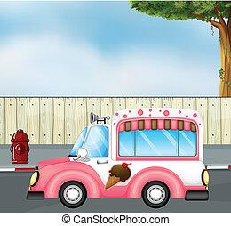 rosa, autobus, strada, gelato