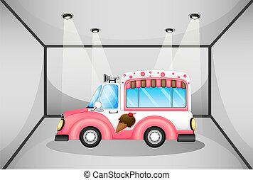 rosa, automobile, dentro, ghiaccio, garage, crema