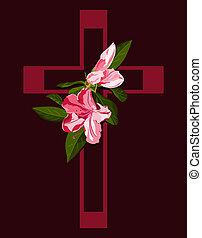 rosa, azalea, fiori, croce, profondo