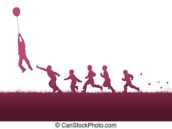rosa, balloon, sopra, bambini
