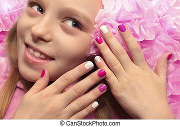 rosa, bambini, bianco, manicure.