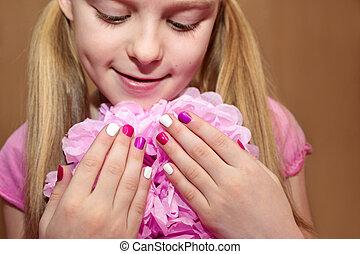 rosa, bambini, bianco, manicure