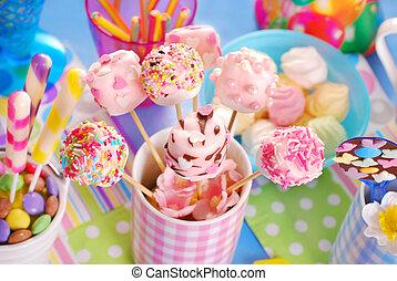 rosa, bambini, marshmallow, colorito, bevande, dolci, compleanno, casalingo, festa, tavola, altro