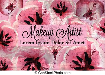 rosa, bello, vector., tulips, decors, acquarello, delicato, fondo, fiori