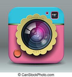 rosa, blu, foto, app, macchina fotografica, disegno, icona